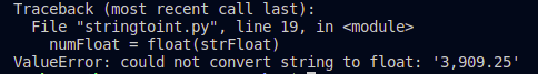 ValueError: could not convert string to float